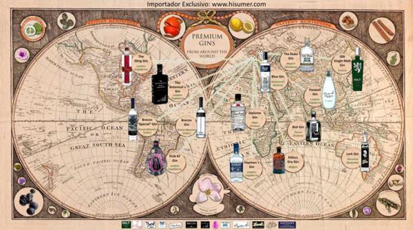 Central Hisumer, mapa mundo Hisumer, destilados internacionales, destilados, bebida alcoholica, bebida, maridaje gourmet y mas, maridaje gourmet, maridaje, ginebra, espirituosos